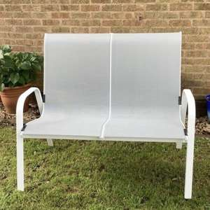 Janeiro 2 seater metal bench £10, other garden items like bbq, pools, gazebos are reduced @ B&Q Derby