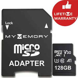 MyMemory 128GB V30 PRO Micro SD Card (SDXC) A1 UHS-1 U3 + Adapter - 100MB/s + Lifetime Warranty - £11.98 @ MyMemory