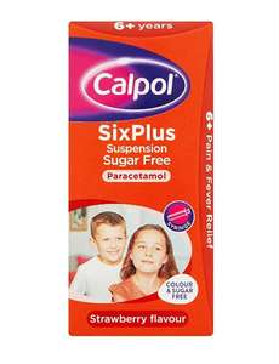 Calpol SixPlus Suspension Sugar Free Strawberry Flavour 6+ Years, 80ml £2.85 / +£4.49 Non-Prime @Amazon