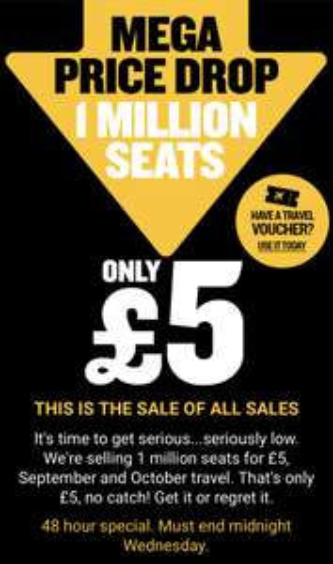 RYANAIR mega sale 1 million seats for £5