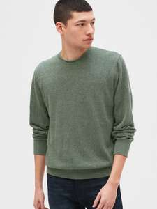 GAP Crewneck Sweater in Linen-Cotton (Cool Olive colour) for £10.39 delivered @ GAP