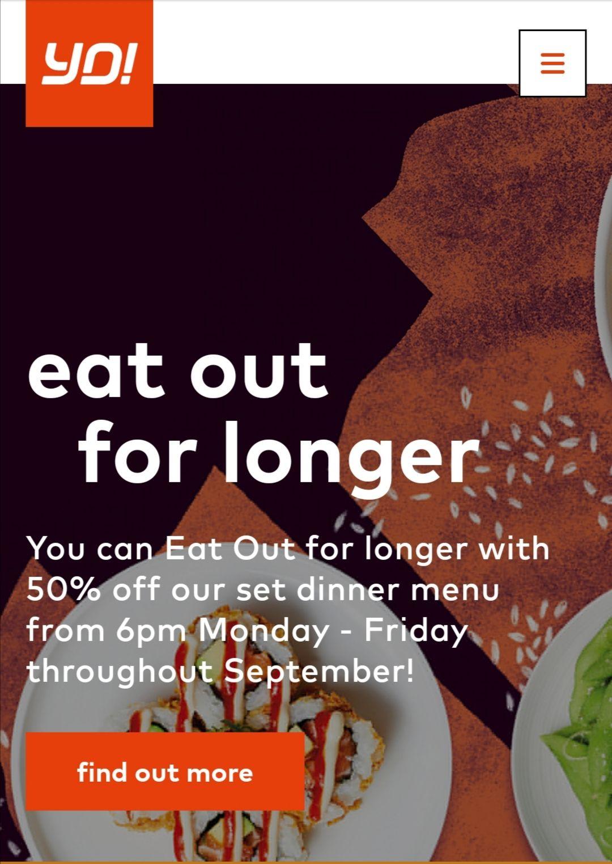 50% off Yo! Sushi, throughout September, Monday to Friday, 6pm onwards