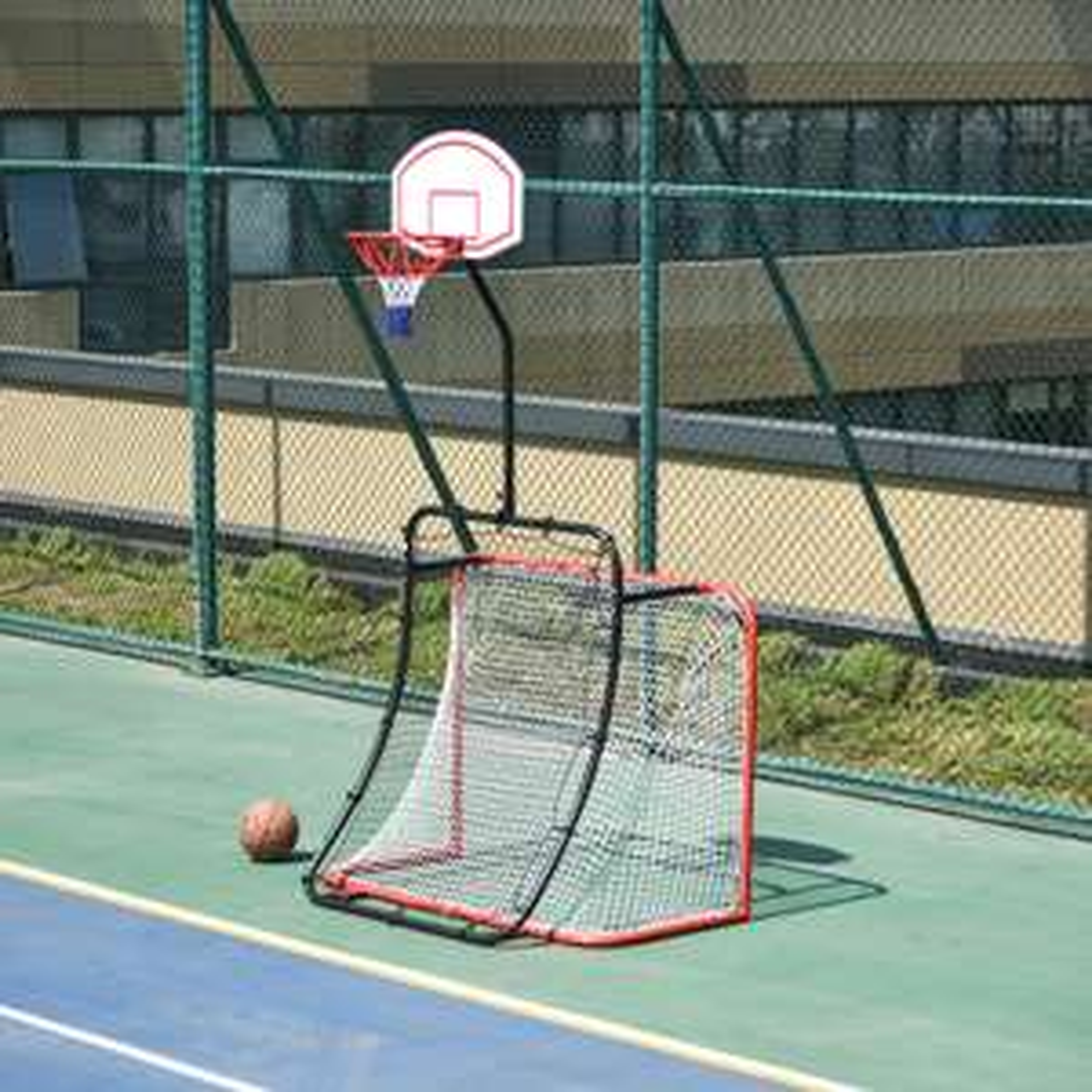 HOMCOM 5.5ft x 9ft 3-In-1 Football Goal Basketball Net Rebounder For Home Play £66.39 delivered @ eBay / outsunny