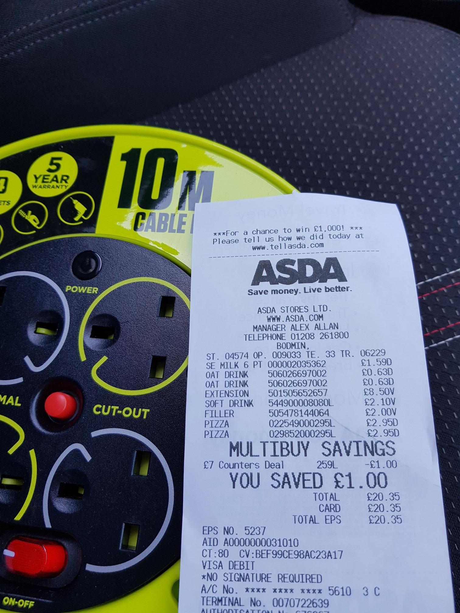 10m cable reel extension £8.50 at Asda Bodmin