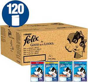 Felix As Good As It Looks Cat Food Mixed In Jelly, 100 g x 120 Pouches £27.19 @ Amazon