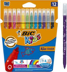 BIC Kids Kid Couleur Felt Tip Colouring Pens - Assorted Colours, Cardboard Wallet of 12 £2 at Amazon (+ £4.49 NP)