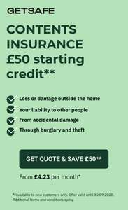 £50 free credit for contents insurance from GetSafe (New customers)