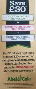 Able & Cole save £10 off your next 3 shops (total £30)