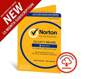 Norton Security Deluxe 2019 | 5 Devices | 1 year + 3 months Download (code in email) £12.99 at Amazon