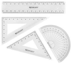 Westcott Maths Set - Transparent (Pack of 4) 79p (+£4.49 NP) Delivered @ Amazon