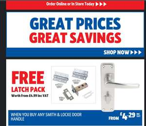 Free latch pack when you buy any Smith & Locke door handle - £4.29 + free Click and Collect at Screwfix