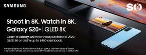 Claim a Galaxy S20 or up to £400 cashback from Samsung when you buy a 2020 QLED 8K from Peter Tyson Audio Visual