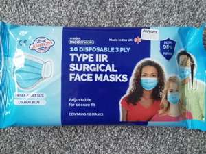 Pack of 10 disposable face masks at Bodycare (Chesterfield) for £1.99
