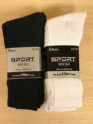 15 Pairs Of Men's Sport Socks, Black/White Cotton Rich Cushion Sole Socks, Size 6-11 - £6.90 @ bitsandthebobs / ebay