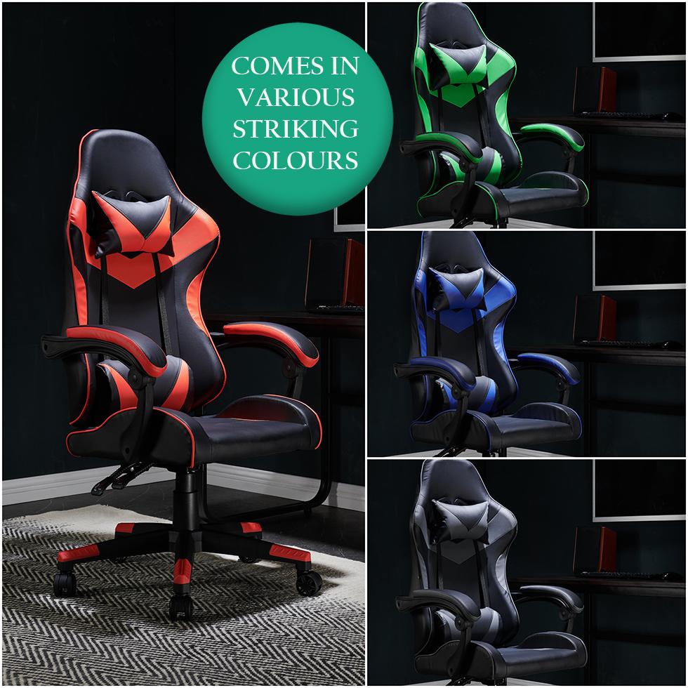 Gaming Computer Chair Ergonomic Adjustable Swivel Recliner Black/Green - £64.99 @ unbeatable09 / ebay