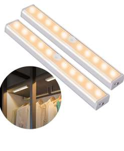 2 Pack of Motion Sensor Closet Light, 10 LED, Wireless, USB Rechargeable Battery - £9.83 with code Prime /+ £4.49 NP Sold by ousfot and FBA
