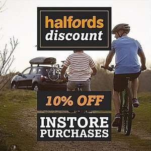 10% off at Halfords instore using barcode on photo (via AA App)