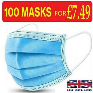 100 x Disposable Face Mask 3 PLY Disposable Face Mask £7.29 Free Delivery @ knejapackaging eBay