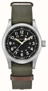 Hamilton Khaki Field Mechanical Nylon Green Strap 80h Power Reserve - £335.75 With Code @ First Class Watches