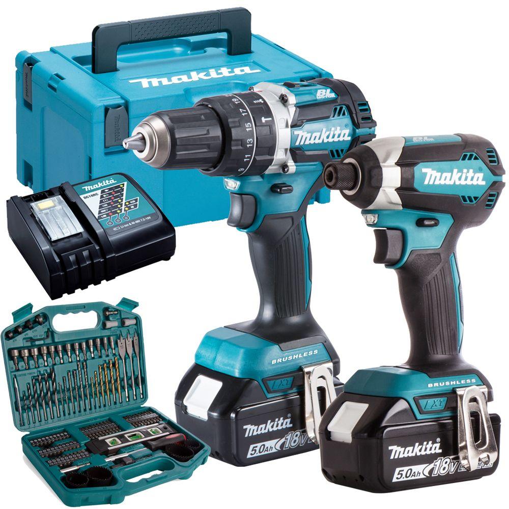Makita DLX2180TJ 18V Twin Kit 2 x 5.0Ah Batteries Charger & 101 Piece Drill Set £404 @ Tools4Trade