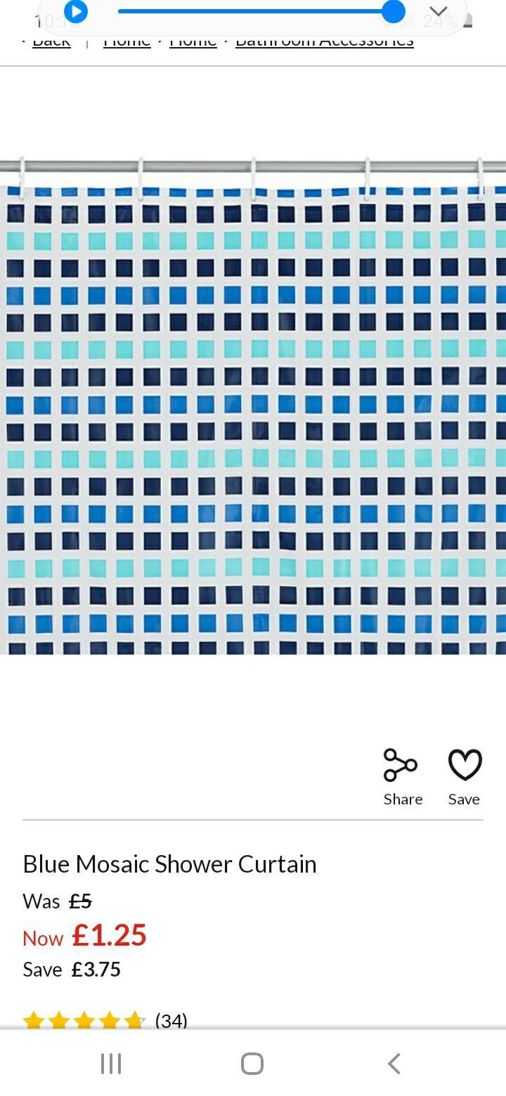 BACK IN STOCK *******Blue Mosaic Shower Curtain £1.25 Free C&C @ Asda
