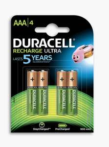 Duracell AAA Ultra rechargeable 4 pack £1.97 John Lewis & partners - £2 click and collect