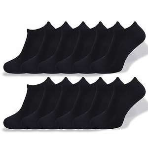 12 Pairs Trainer Liner Socks Black Liners Socks Cotton Rich Size UK 4-8 - £4.99 @ factoryclearanceonlineuk / ebay