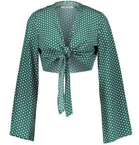 Glamorous Green & Lilac Polka Dot Tie Front Blouse XS , S, M available £11.98 Delivered @ TK Maxx