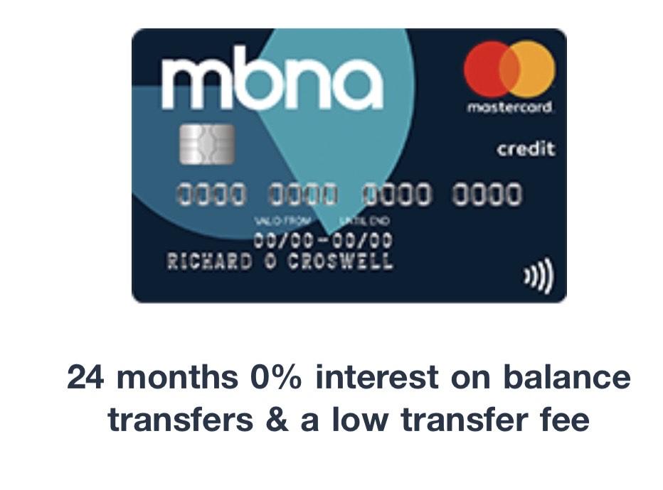 MBNA - Balance Transfer 0% 24m 1.5% fee
