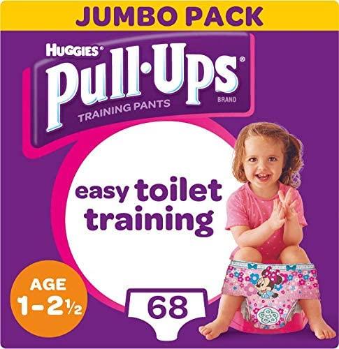Huggies Pull-Ups Girl's Potty Training Pants, 1-2.5 Years, (68 Pants) £10 (£9 S&S) (+£4.49 Non-prime) @ Amazon