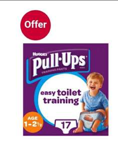 Huggies Pull Ups £2.50 Boys Day Time Potty Training Pants, 17 Pants, 8-17kg girls in description @ Boots