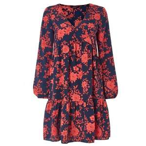 Navy Floral Print Tiered Smock Dress (was £32) Now £10.50 with code + Free delivery @ Romans Originals