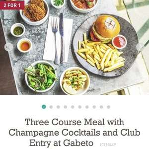 Three Course Meal with Champagne Cocktails and Club Entry at Gabeto now £24 with code at BuyAGift