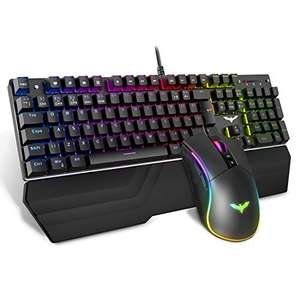 HAVIT Wired RGB Mechanical Gaming Keyboard and Mouse Combo Set UK Layout - £40.79 - Sold by SBOX Store and Fulfilled by Amazon
