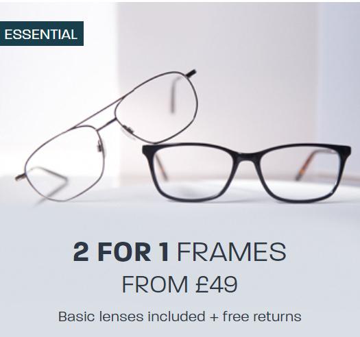 Glasses Direct, 50% most frames. 2 Essentials Frames for £24.50 + £3.95 Delivery