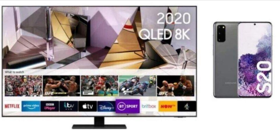 Samsung QE55Q700T 2020 55 Inch QLED 8K TV + Free Galaxy S20 + 20% Cashback Via BNPL Credit Agreement £1999/£1599 With Cashback @ Very