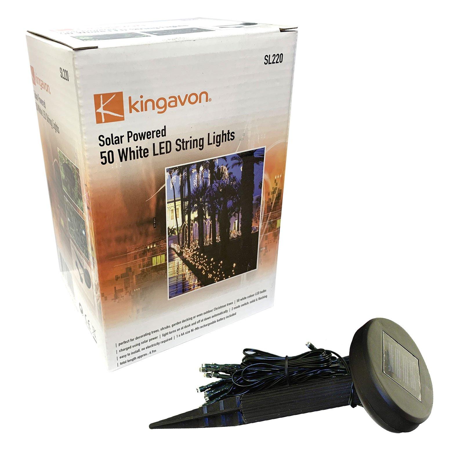 Kingavon solar powered 50 white LED string lights free at Amos