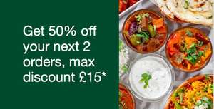 UBER EATS - Get 50% off your next 2 orders, max discount £15*