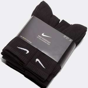 Nike Everyday Cushioned Black socks, six pack for £12.74 with free Click and collect with code From Footasylum