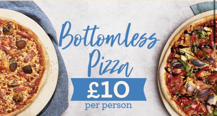 Bottomless pizza £10 per person Mon-Thurs 12-9pm @ Bella Italia