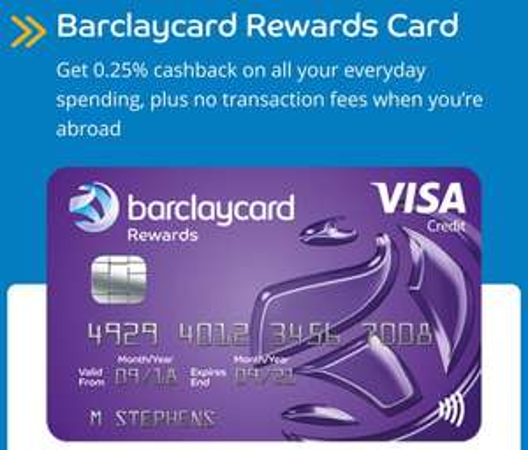 Barclaycard Rewards Card - Visa with 0.25% Cashback + Fee Free International Purchases @ Barclaycard