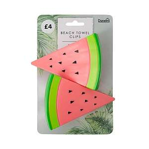 Watermelon Beach Towel Clips Now £1 for a set of 2 with Free Click and collect from Dunelm