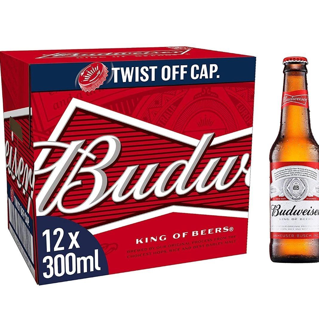 Budweiser Lager Beer Bottle, 12 x 300ml £7.45 @ Amazon (+£4.49 Non-prime)