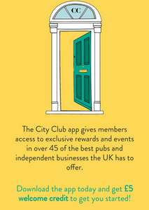Get £5 off your first order via City Club Mobile App