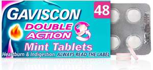 (Pack of 48) Gaviscon Double Action Tablets Heartburn and Indigestion - £5.15 Prime / +£4.49 non Prime @ Amazon