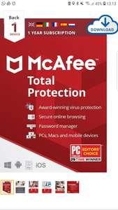 McAfee Total Protection 1 Device 1 Year from £5.99 @ Amazon (Prime Students only)