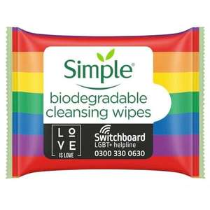Simple Wipes 20 Pack - Various - 2 for £1.45 Free Click & Collect @ Superdrug