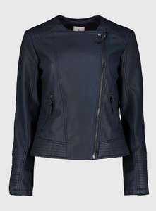 Navy Faux Leather Biker Jacket £17.50 + £3.95 delivery at Sainsbury's Tu Clothing