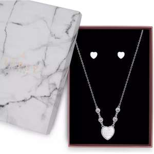 Lipsy Silver Colour Heart Pendant and Earring Set £6.99 click & collect @ Argos