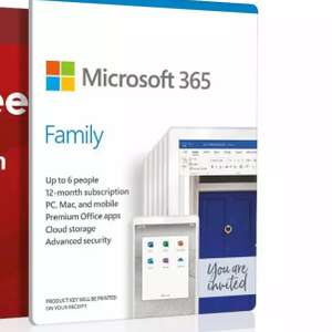 Microsoft 365 Family - Up to 6 users - Multiple PC's/Mac's, Tablets and Phones - 1 Year £39.99 (free collection) @ Argos